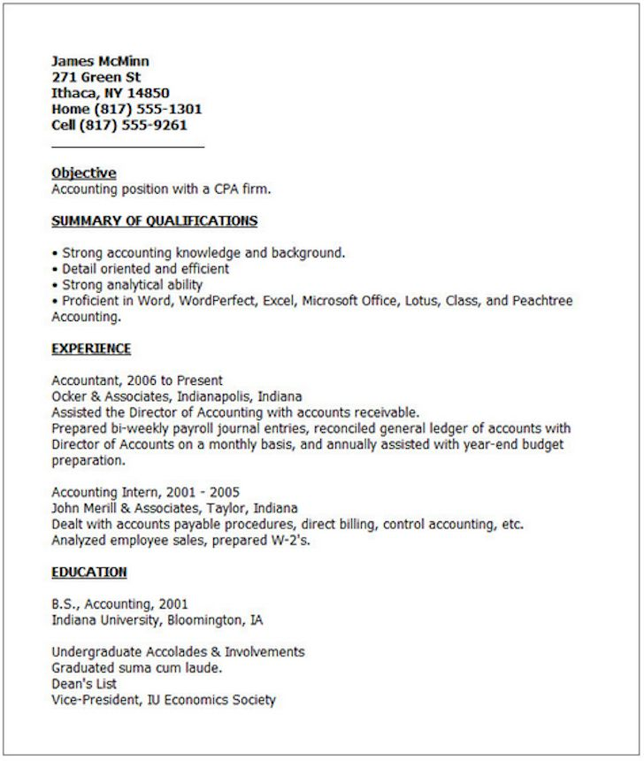 Las 25 mejores ideas sobre Good Resume Examples en Pinterest - accounting internship resume sample