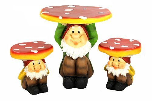 """3-Piece Jolly Gnome Table and Chair Novelty Garden Furniture Set by Four Seasons Home. $379.99. 3-Piece Novelty Garden Furniture SetItem #JF10827026Gnome table and chairs feature adorable jolly gnomes crouched under the red and white """"mushroom"""" topIncludes 2 chairs and one tableSome minor assembly required (no tools needed)For indoor/outdoor use - will not fade, rust or mildewEasy to clean - wash with mild diluted soap and water Dimensions:25""""H x 25""""D (table)15""""H x 13""""D (chair..."""
