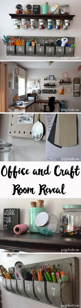 Office/Craft Room Reveal with before and afters. Painted with Behr Spun Wool #BehrDIYExpert http://www.poofycheeks.com: