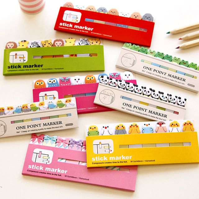Kawaii Японский Разместить Его скрапбукинг Записки Наклейки Sticky Notes Школа Офисное Оборудование Канцтовары Странице Флаги Для Детей