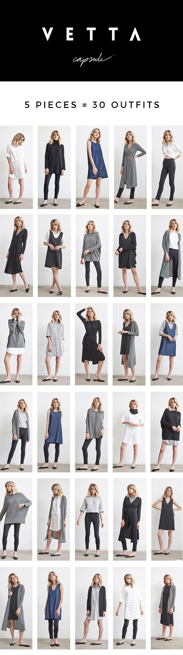5 pieces = 30 outfits | made in USA from sustainable fabrics | www.vettacapsule.com #capsule #sustainablefashion #capsulewardrobe #madeinusa #oversizedsweater #dustercardigan #pontepants #shirtdress #jumper #reversible #convertible