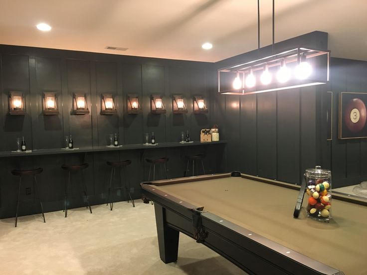Fun drink rail bar in basement rec and game room mancave for Rec room pools