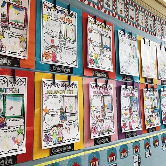 Absolutely loving our Wow Work Wall! 💕 All About Me page available in my TPT store and the pop of black name labels are from @justaprimarygirl 💕 #wowwork #allaboutme    #Regram via @misstessclassroom
