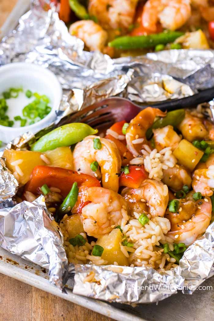 Shrimp foil packets are quick and easy with little clean up. Tender crisp vegetables, succulent shrimp & juicy pineapple grilled in a sweet teriyaki sauce. (Diet Recipes Low Calorie)
