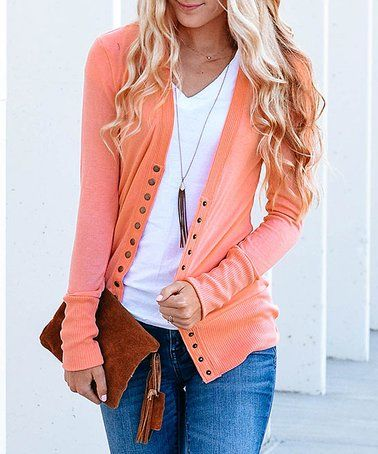 7045f1cf66 Love this Deep Coral Snap-Button Cardigan on  zulily!  zulilyfinds. Another  great find ...