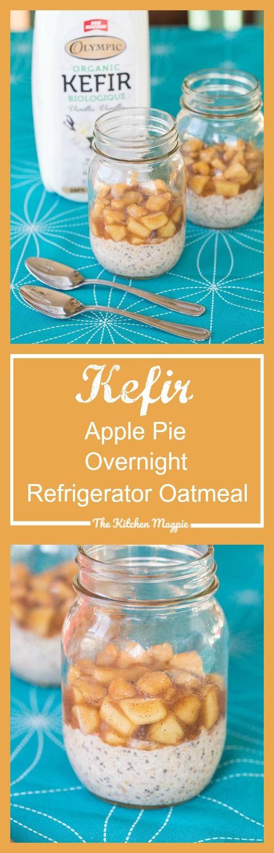 Kefir Apple Pie Overnight Refrigerator Oatmeal