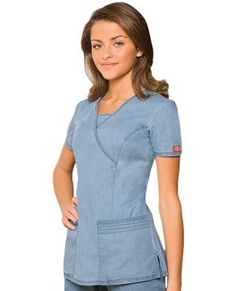 Dickies New Blue Scrubs Junior Fit Mock Wrap Nursing Top
