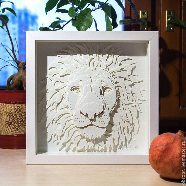 Объемная картина Белый Лев /волшебный защитник/ царь зверей / подарок - белый
