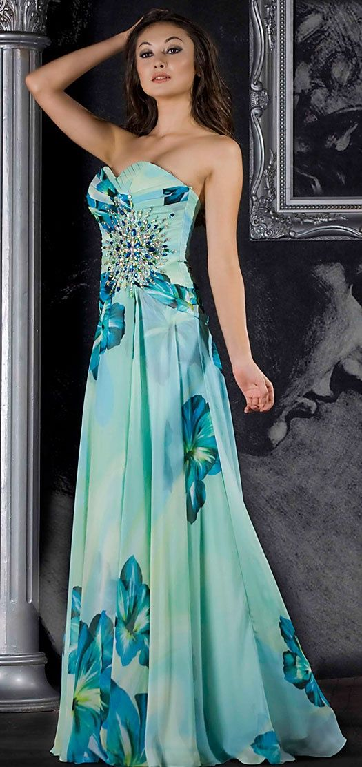 Vestido con estampado floral en azul...siempre favorecedor