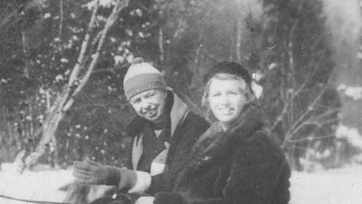First Lady Mrs ~~Eleanor Roosevelt and Her Daughter  Anna Roosevelt at Val,Kill in Hyde Park, New York .Date 02/1935.♡❀❁❤❁❤❁❤❁❤❁❤♡❀ http://www.nps.gov/nr/travel/presidents/eleanor_roosevelt_valkill.html  http://en.wikipedia.org/wiki/Anna_Roosevelt_Halsted  http://en.wikipedia.org/wiki/Eleanor_Roosevelt  http://en.wikipedia.org/wiki/Home_of_Franklin_D._Roosevelt_National_Historic_Site  http://www.historichydepark.org/