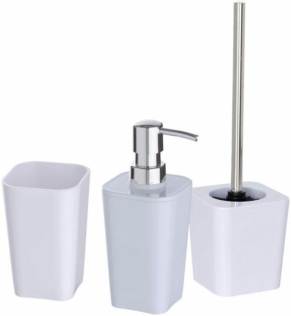 Candy White Badzubehor Set 3 Teilig Schwerer Kunststoff Bad Accessoires Set Seifenspender Wc Garnitur