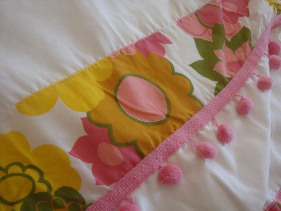 Retro Curtain Panels Pink & Yellow Flowers- can be a real easy diy to add a little retro flare, but not overwhelming!