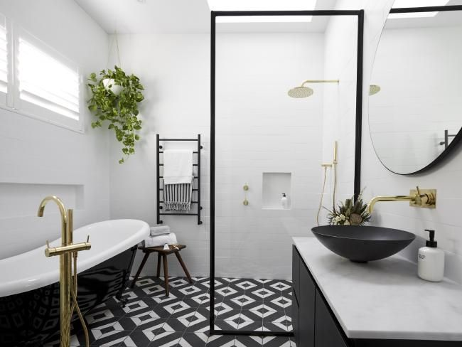 The Block — Ronnie and Georgia's bathroom was criticised for the weird placement of bath spout. Picture: Nine