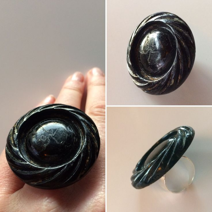 Big, black and bold. This ring is made of a soulful old button from Chicago.