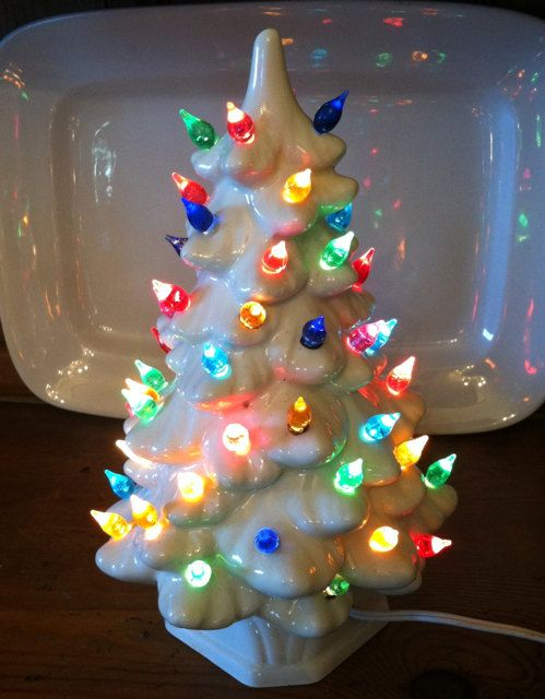 vintage ceramic christmas tree pearl white with by cottageantiques - Pearl Christmas Lights