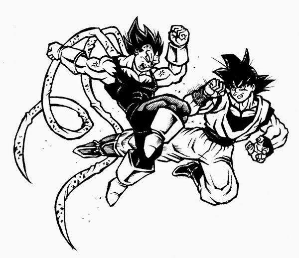 DRAGON BALL Z PLUS: Entintado de Goku versus Vegeta [Peleando] por EKN   EKN: Mis Dibujos de Anime Manga