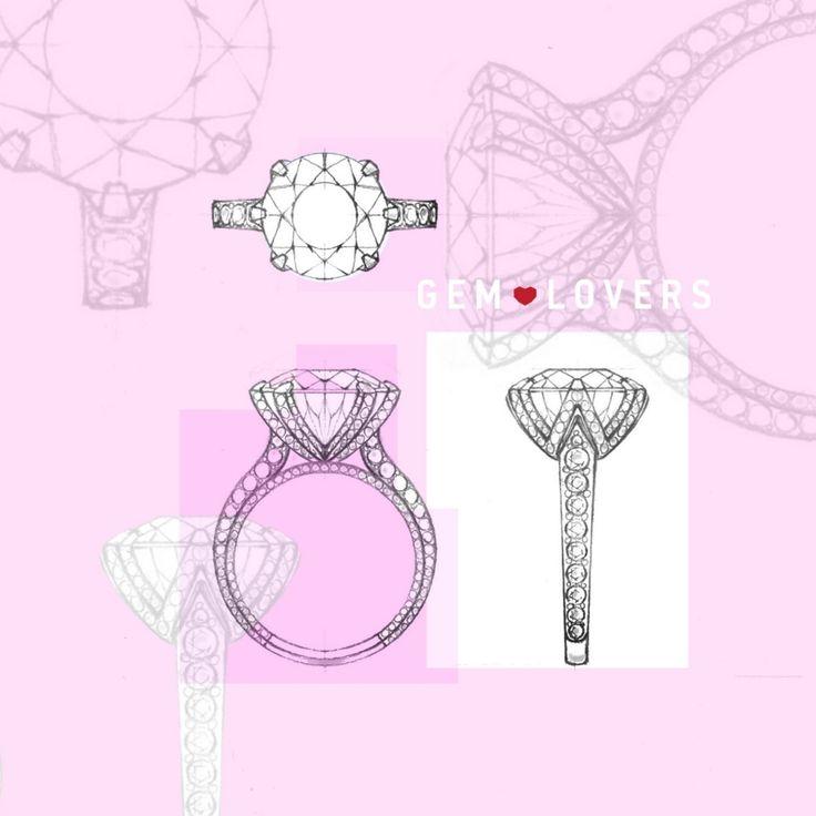Эскиз помолвочного кольца с драгоценным камнем на заказ от Gem Lovers