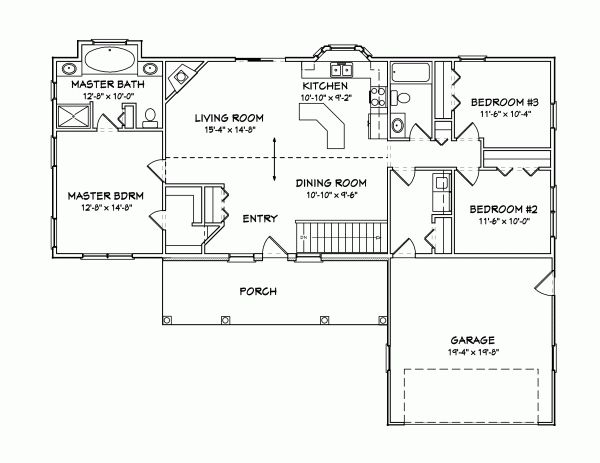 Traditional Style House Plans - 1456 Square Foot Home, 1 Story, 3 Bedroom and 2 3 Bath, 2 Garage Stalls by Monster House Plans - Plan 51-139