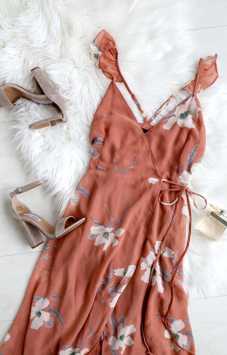 Lulus | All Mine Rusty Rose Floral Print High-Low Wrap Dress | Size Small | Pink | 100% Polyester