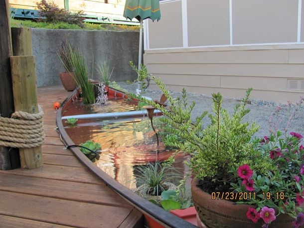 The Canoe Pond :: Hometalk: Gardens Ideas, Old Boats, Water Gardens, Water Features, Outdoor, Canoeing Ponds, Canoe Ponds, Fish Ponds, Ponds Ideas
