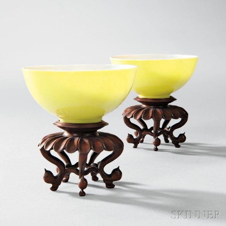 Rare Pair of Lemon Yellow-glazed Wine Cups, China, Yongzheng (1723-35) period. | Lot 281 | Estimate $30,000-50,000