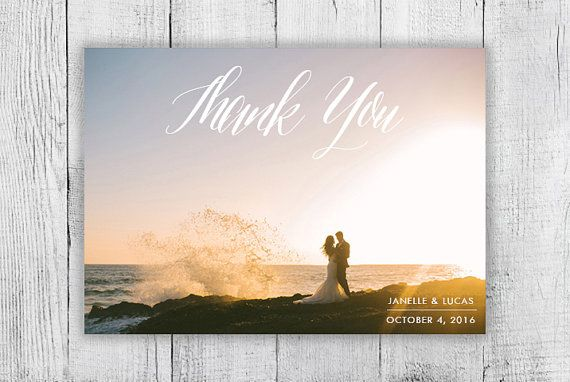 Calligraphy Custom Photo Thank You Card Digital Design by Blushly