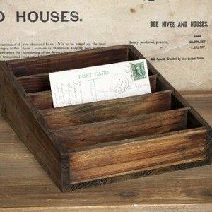 Wooden Postcard Box | Wooden Drawer Organizer