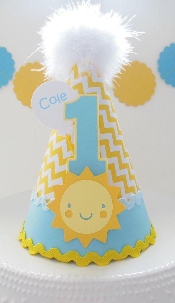 You Are My Sunshine - Blue and Yellow Chevron Boy - Birthday Party Hat - Personalized