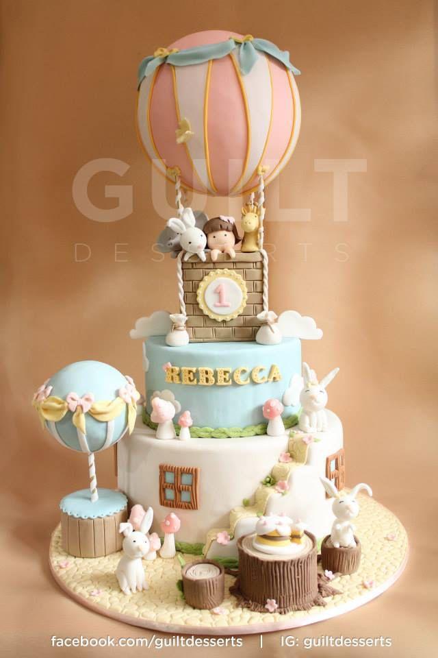 Hot air balloon first birthday cake