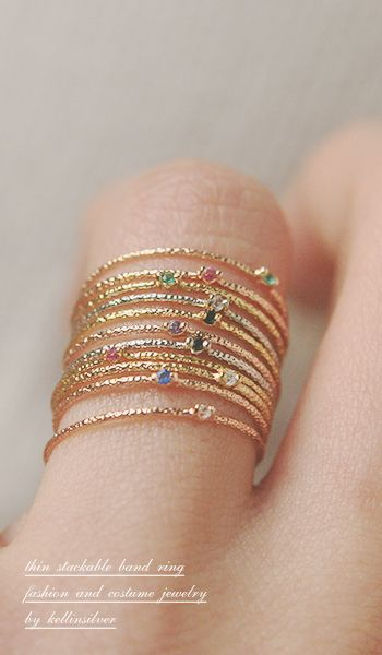 Color Stone Textured Tin Rings Rose Gold Set of 6 - kellinsilver.com