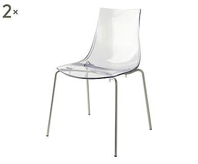 Set di 2 sedie in metallo verniciato Led