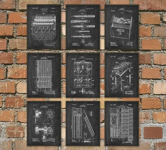 Accountant Patent Print Set of 9 - Accountancy Poster - Office Wall Art - Business Management - General Ledger - Profit And Loss Account
