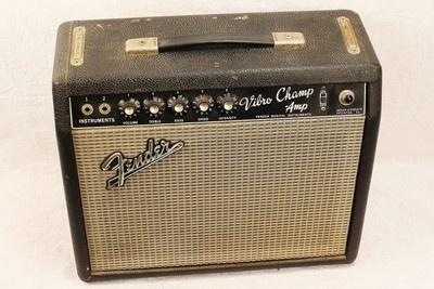 Vintage '66 Fender USA Blackface Vibro Champ Electric Guitar Amplifier Amp