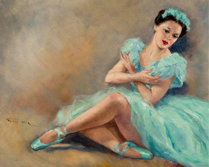Pál Fried (Hungarian/American, 1893-1976): Blue Ballerina (Oil on canvas)