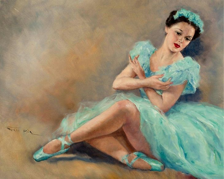 Pál Fried (Hungarian/American, 1893-1976): Blue Ballerina (Oil on canvas)