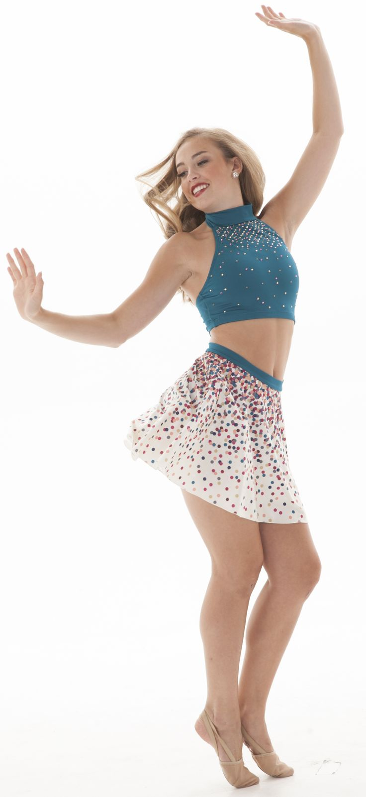 Sublimated Confetti print circle skirt- fun and girly! Perfect for a fun tap or jazz costume