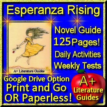 Free up your time with Esperanza Rising, a 125 page common-core aligned complete Literature Guide for the novel. It can be used with or without Google Drive (Paperless OR Print and Go) This novel study teaching unit has everything that you will need to teach and assess the novel.