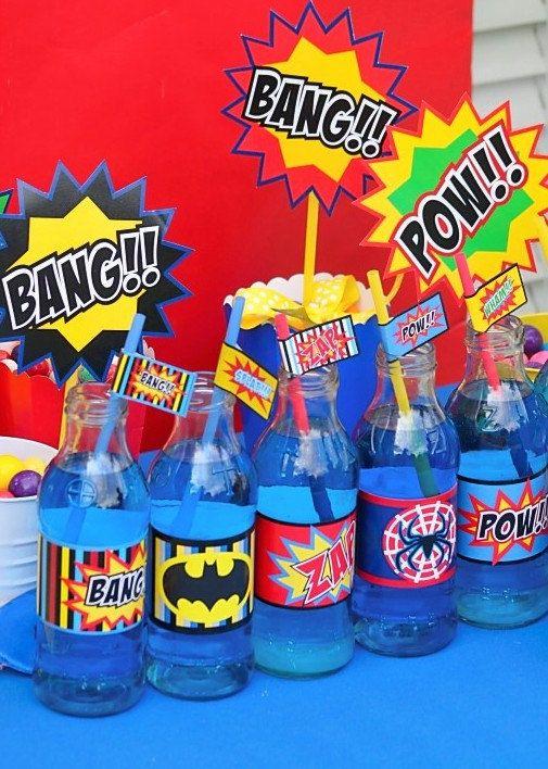 SUPER HERO Party Circles -Superheroes party for Batman, Spiderman - Superman Super Woman- Wonder Woman- Krown Kreations. $5.99, via Etsy.