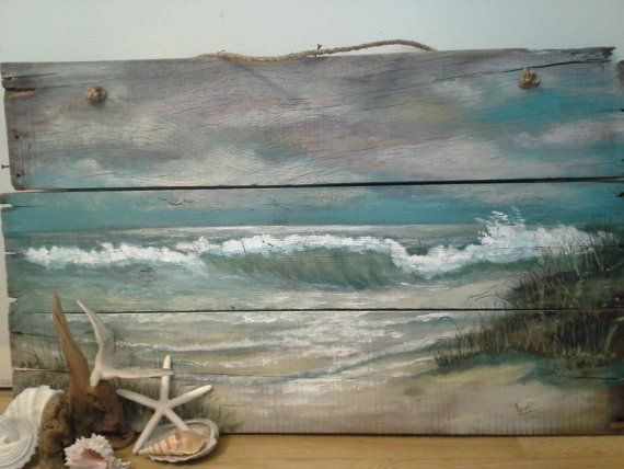 Items similar to Original océan plage Seascape peinture recyclée bois Shabby Chic Beach Cottage plage décor on Etsy