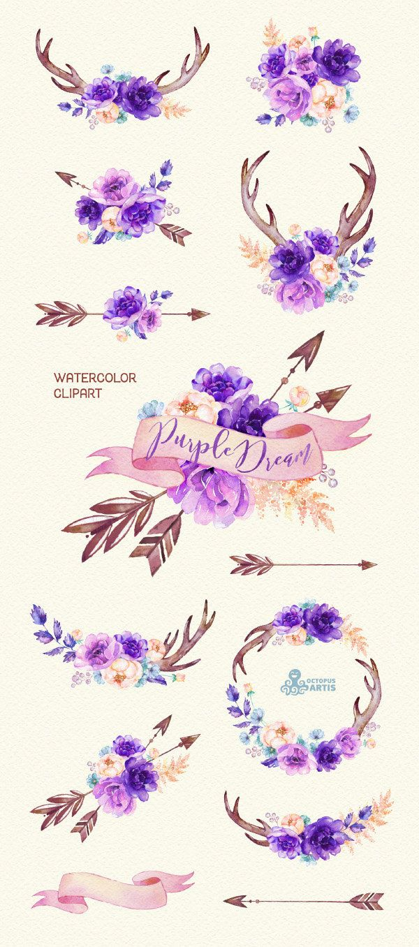 Purple Dream. Watercolor floral Clipart, peony, arrows, antlers, bouquets, wedding, flowers, invite, violet, card, diy clip art, boho