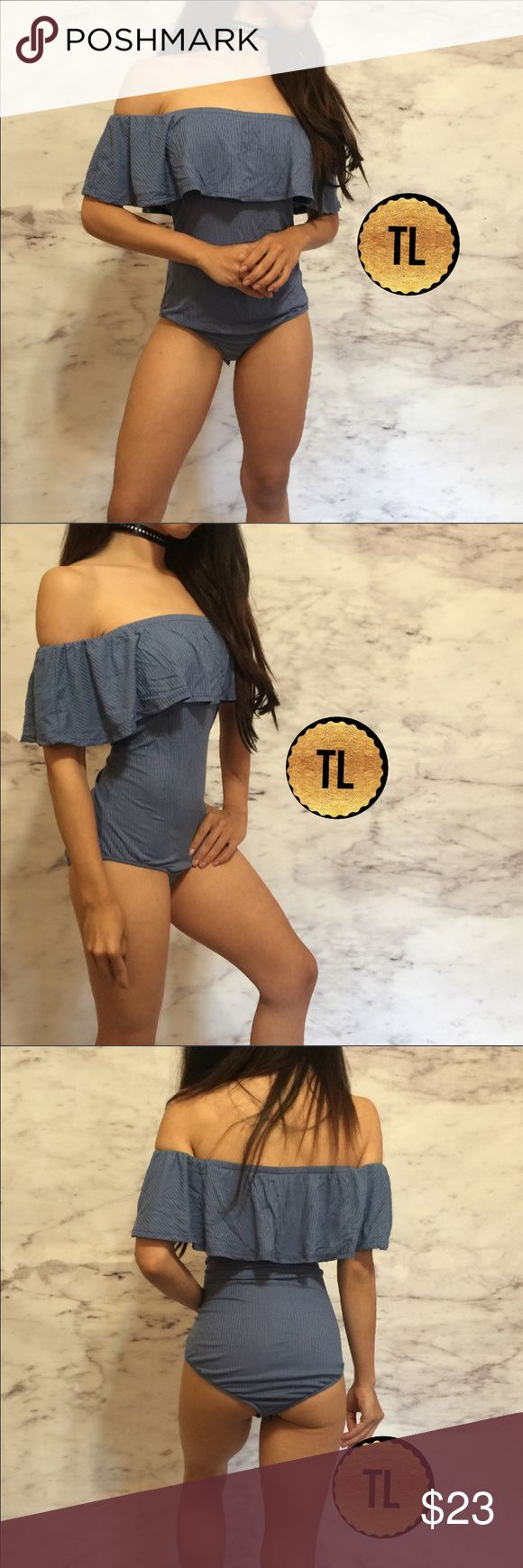 """Off shoulder ruffle sleeve rib knit hot bodysuit •brand new  •ships tomorrow •brand : TIMELESS look boutique  •no trades  •true to size     Lovely to pair with a hot pair of bottoms for an activity,  w boyfriend jeans for a cool instagram or street style look  Model: goguios in insta 📸 (account manager) modeling XS  Please visit """"Closet Rules"""" for more info about us :) Timeless Look Tops"""