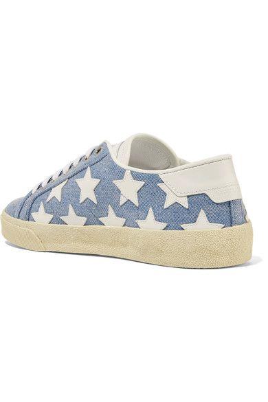 Saint Laurent - Court Classic Leather-appliquéd Denim Sneakers - Blue - IT40.5