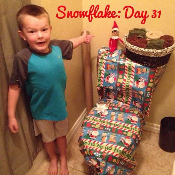 """MOM! Look what Snowflake DID!! Ha!"" #elfontheshelf"