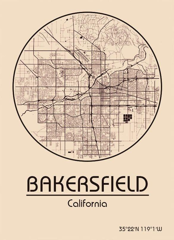 Karte / Map ~ Bakersfield, Kalifornien / California - Vereinigte Staaten von Amerika / United States of America / USA
