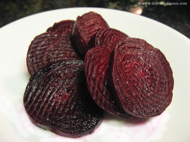The Rising Spoon: Roasted Beet Slices with Fleur de Sel + How to Roast Fresh Beets. They're an excellent, low calorie source for vitamins, minerals, antioxidants and phytonutrients.  #healthy #recipes #beets #vegan #vegetarian