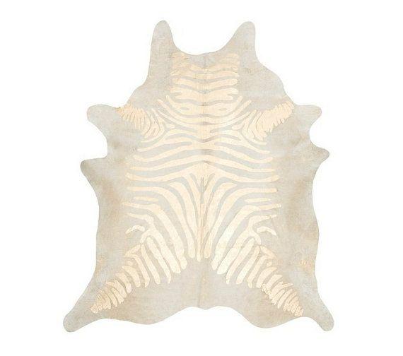 Zebra Printed Cowhide Rug - Gold / Pearl