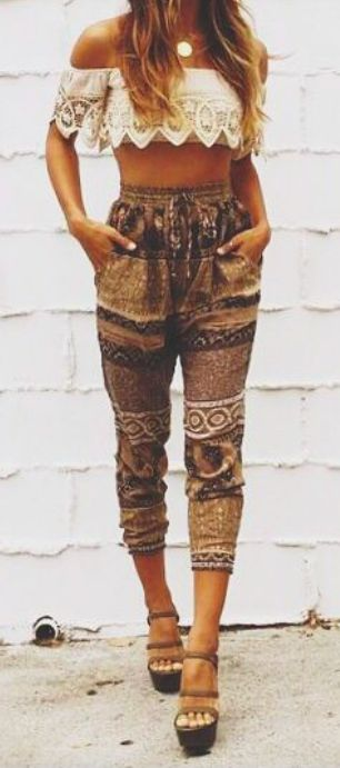 Ethnic inspired tribal print capri pants and lacey boho chic bandeau. For the BEST Bohemian fashion trends FOLLOW https://www.pinterest.com/happygolicky/the-best-boho-chic-fashion-bohemian-jewelry-gypsy-/ now!