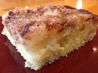 German Apple Cake - An easy recipe that's an old family favorite. TIP:  The harder the apple, the thinner you need to slice your slices.  I like to use a relatively soft apple, like MacIntosh or Gala. ~~ Houston Foodlovers Book Club