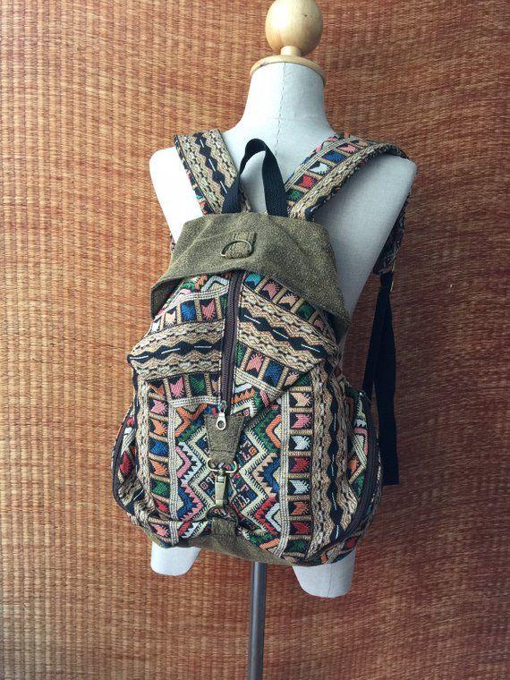 Tribal Woven Backpack Boho Aztec hippie Southwestern Baja pattern Style  Ruck Sack Student School daypack Gift 3f06f392fa