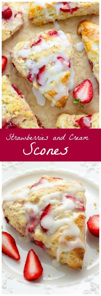 """My favorite scone recipe loaded with fresh strawberries and topped with a creamy vanilla glaze!"""